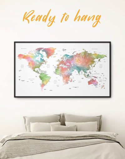 Framed Watercolor World Map Wall Art Canvas - corkboard framed canvas framed map wall art framed wall art framed world map canvas