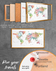 Framed Watercolor World Map Wall Art Canvas