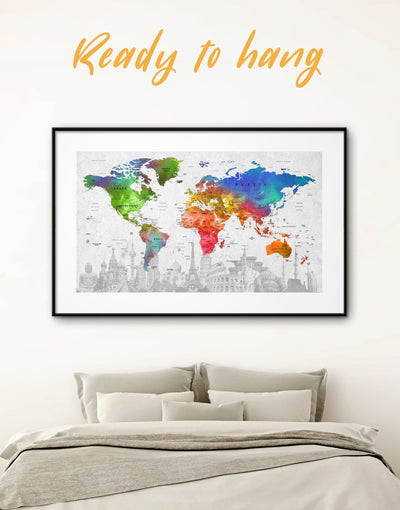Framed Watercolor World Map Wall Art Print - framed map wall art framed print framed wall art framed wall art for living room framed world