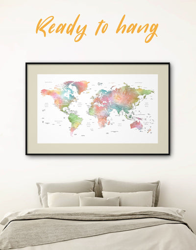 Framed Watercolor World Map Wall Art Print - framed map wall art framed print framed wall art framed world map print Labeled world map