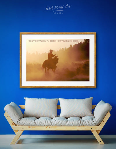 Framed Western Style Wall Art Print - bachelor pad bedroom brown Cowboy Dining room