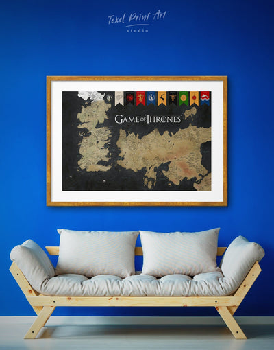 Framed Westeros Map Wall Art Print - bedroom black and gold wall art Dining room dining room wall art framed print