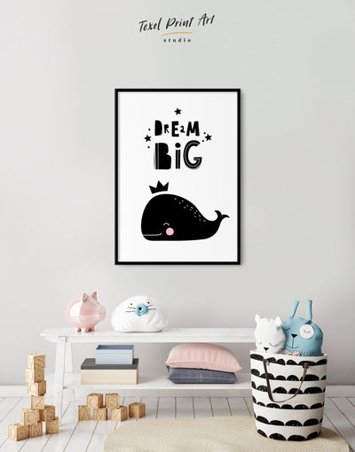Framed Whale Nursery Wall Decor Canvas - Canvas Wall Art Black black and white framed canvas Kids room kids wall art