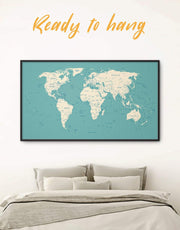 Framed White and Blue Push Pin Map Wall Art Canvas