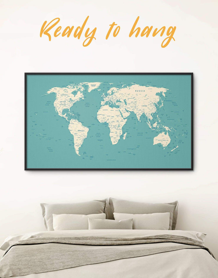Framed White and Blue Push Pin Map Wall Art Canvas - bedroom Blue blue and white Blue wall art for living room contemporary wall art