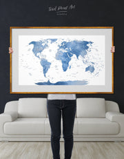 Framed White and Blue World Map Wall Art Print