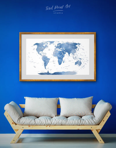 Framed White and Blue World Map Wall Art Print - bedroom Blue blue and white Blue wall art for living room contemporary wall art
