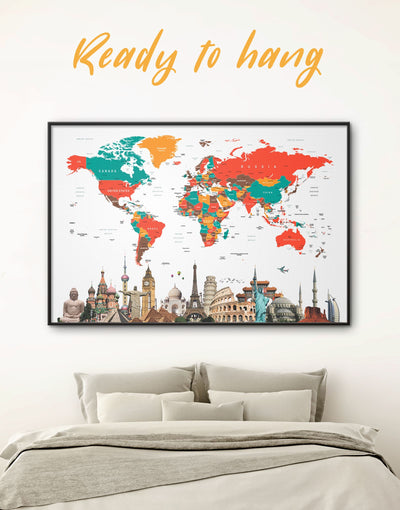 Framed White and Multicolor World Map Wall Art Canvas - Abstract Abstract map bedroom Contemporary contemporary wall art