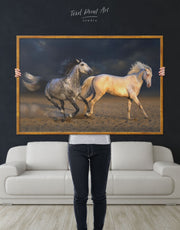 Framed White Horse Wall Art Canvas