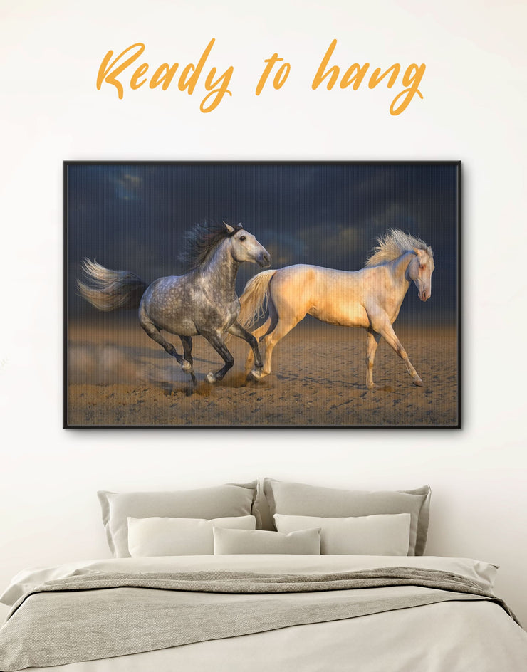 Framed White Horse Wall Art Canvas - Animal Animals bedroom Dining room Farmhouse