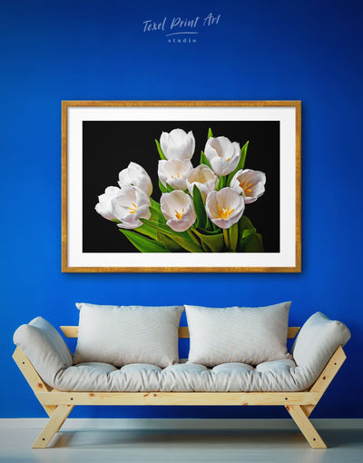 Framed White Tulips Wall Art Print - bedroom black flower framed print Hallway