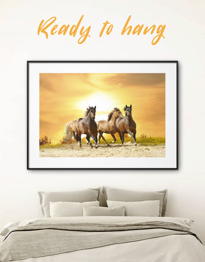 Framed Wild Horses Wall Art Print - Animal Animals Farmhouse framed print horse wall art