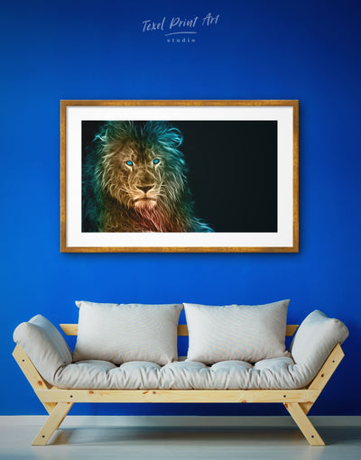 Framed Wild Lion Wall Art Print - Animal Animals bedroom Black framed print
