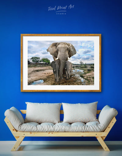 Framed Wild Savanna with Elephants Wall Art Print - Animal Animals bedroom blue framed print