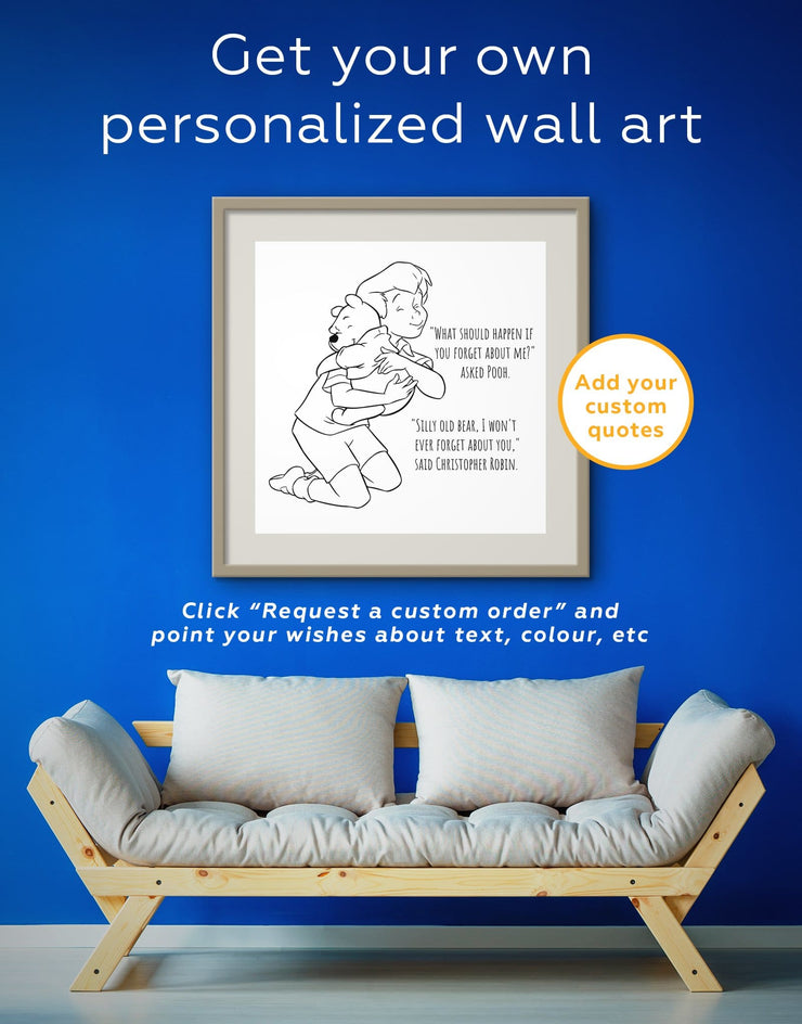 Framed Winnie the Pooh Cartoon Quote Wall Art Print - Wall Art bedroom framed print Hallway inspirational wall art Kids room