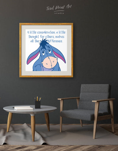 Framed Winnie the Pooh Citation About Kindness Wall Art Print - Wall Art bedroom blue framed print Hallway inspirational wall art