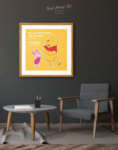 Framed Winnie the Pooh Friendship Quote Wall Art Print - Wall Art bedroom framed print Hallway inspirational wall art Kids room