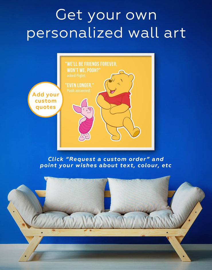 Framed Winnie the Pooh Quote Friendship Citation Wall Art Canvas - Canvas Wall Art bedroom framed canvas Hallway inspirational wall art Kids
