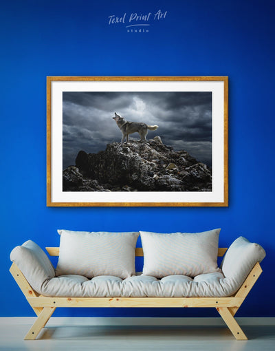 Framed Wolf Wall Art Print - Animal Animals bedroom framed print Grey