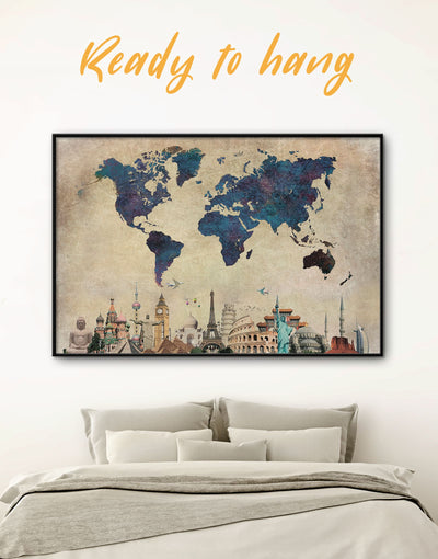 Framed World Attractions Map Wall Art Canvas - Abstract map Blue blue wall art for bedroom Blue wall art for living room framed canvas