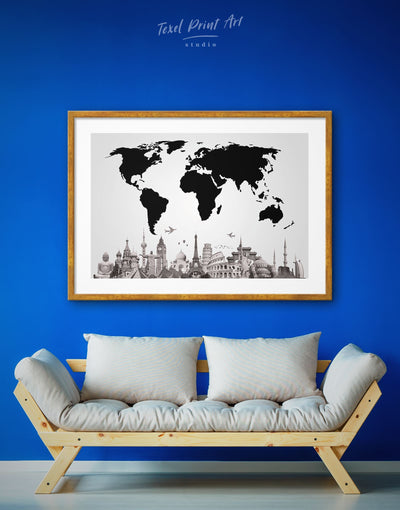 Framed World Famous Places Wall Art Print - Abstract map black Black and white world map framed map wall art framed print