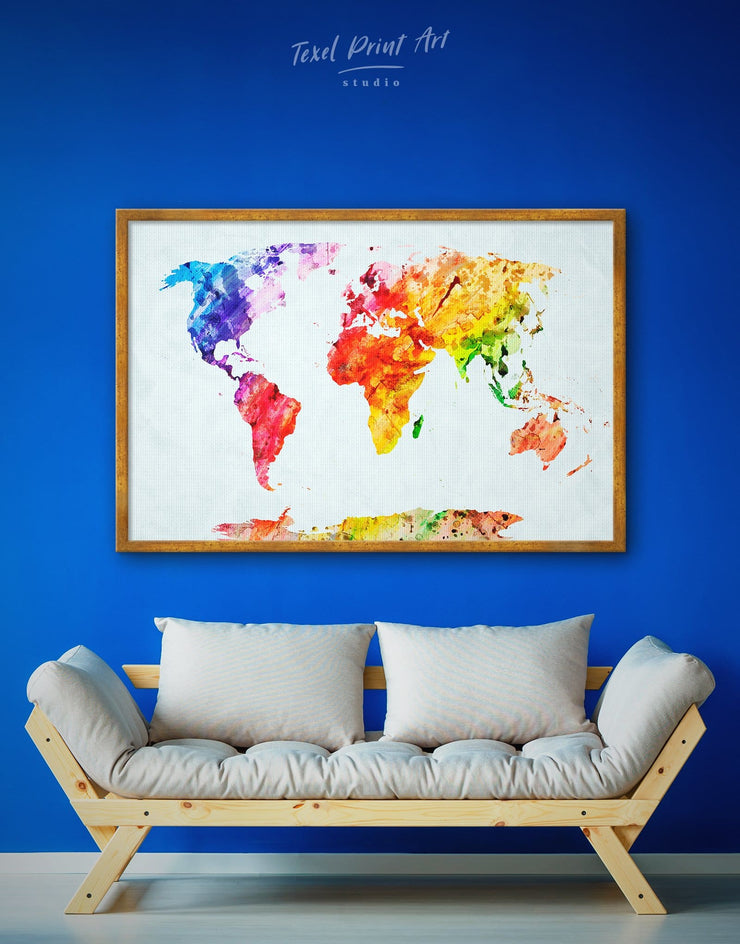 Framed World Map Abstract Wall Art Canvas - Abstract Abstract map abstract world map wall art bedroom framed abstract wall art