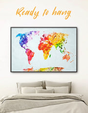 Framed World Map Abstract Wall Art Canvas