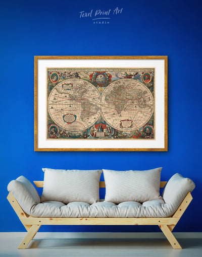 Framed World Map Antique Wall Art Print - Antique Antique world map canvas bedroom Brown brown framed wall art