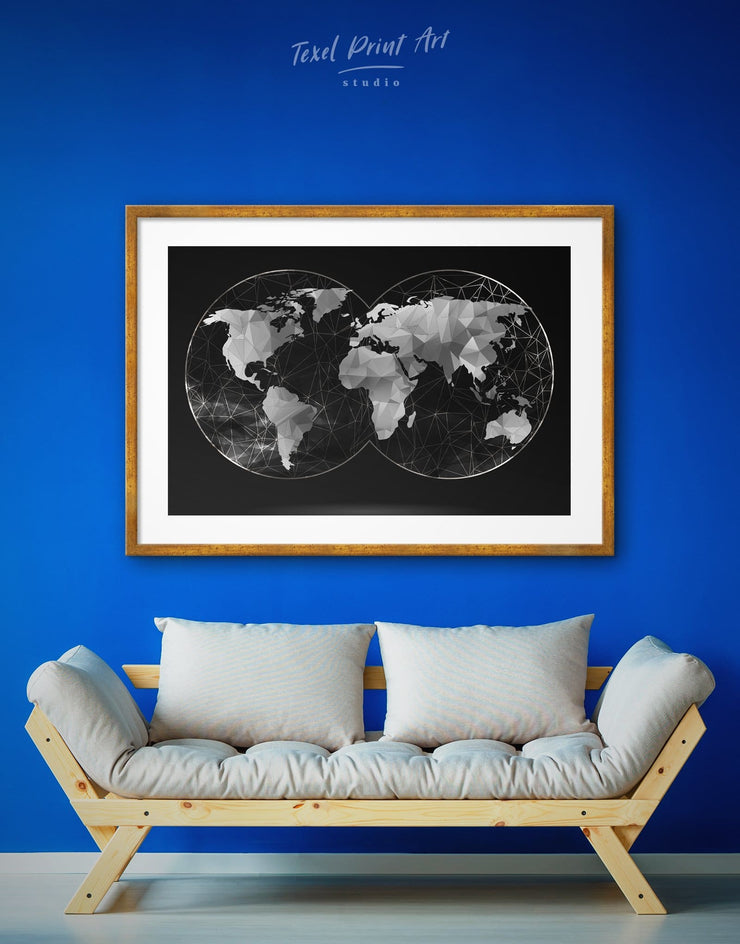 Framed World Map Black Wall Art Print - Abstract map abstract world map wall art bedroom Black black and silver wall art