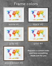 Framed World Map Colorful Wall Art Print