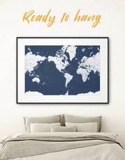 Framed World Map on the Dark Blue Background Wall Art Print