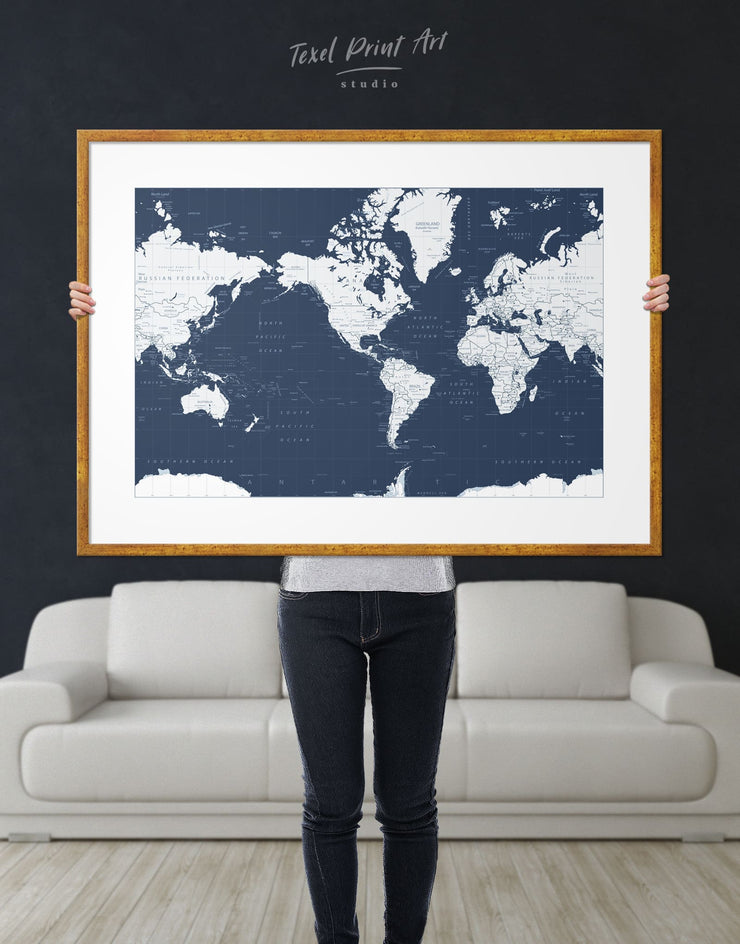 Framed World Map on the Dark Blue Background Wall Art Print - bedroom Blue blue and white Blue Wall Art blue wall art for bedroom