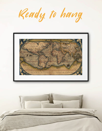 Framed World Map Poster Vintage Wall Art Print - Antique world map canvas bedroom Brown framed map wall art framed print