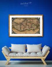 Framed World Map Poster Vintage Wall Art Print