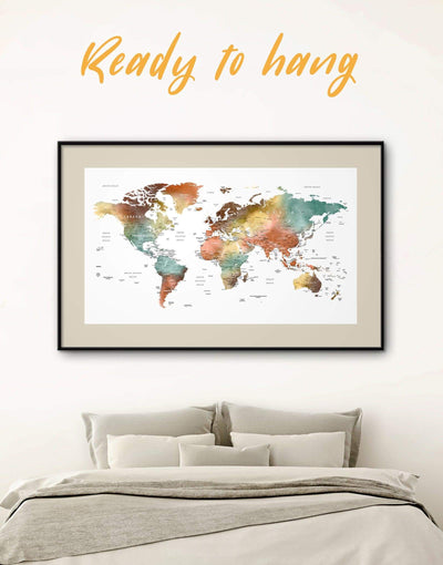 Framed World Map Wall Art Print - bedroom Contemporary contemporary wall art framed map wall art framed print