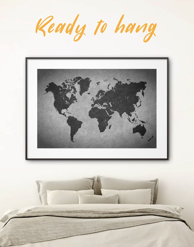 Framed World Map Wall Art Print - Abstract Abstract map abstract world map wall art black and grey wall art Contemporary