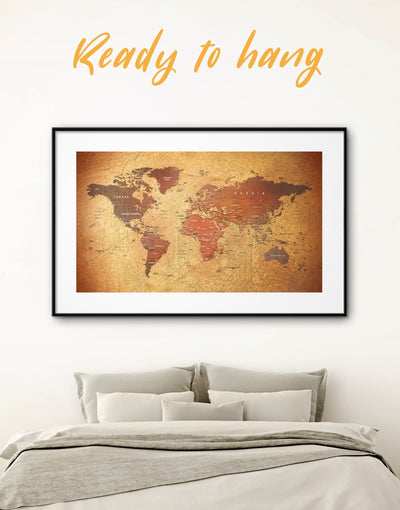 Framed World Map Wall Art Print - bedroom Brown brown framed wall art framed print framed wall art