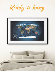 Framed World Map Wall Art Print 0357