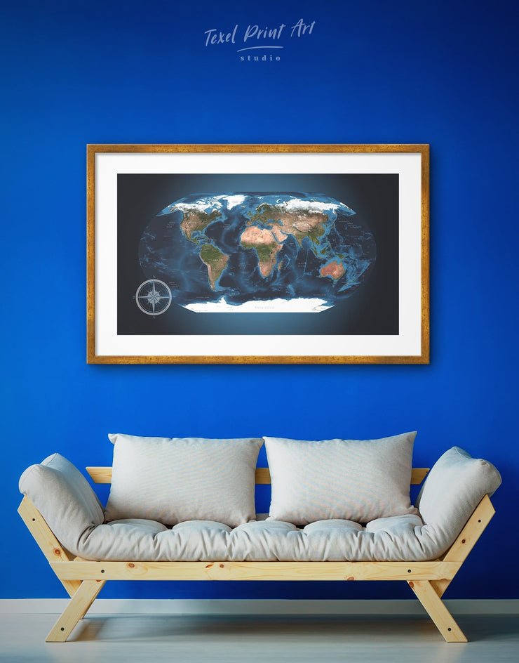 Framed World Map Wall Art Print - Blue blue wall art for bedroom Blue wall art for living room framed map wall art framed print