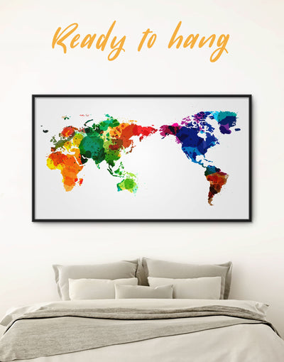 Framed World Map Watercolor Splashes Wall Art Canvas - Abstract map corkboard framed framed canvas framed map wall art
