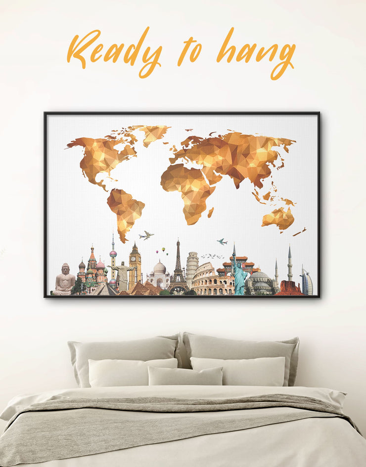 Framed World Map With Sightseeings Wall Art Canvas - Abstract Abstract map bedroom contemporary wall art framed canvas