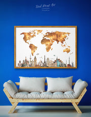 Framed World Map With Sightseeings Wall Art Canvas