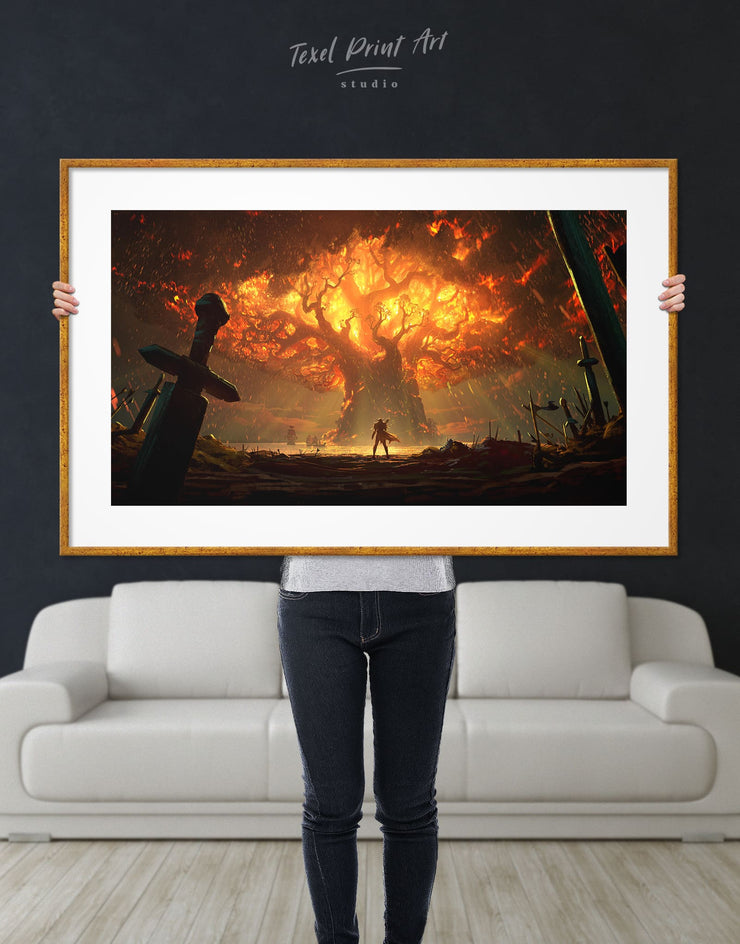 Framed World Of Warcraft Teldrassil Battle for Azeroth Wall Art Print - Wall Art bachelor pad bedroom framed print Hallway Living Room