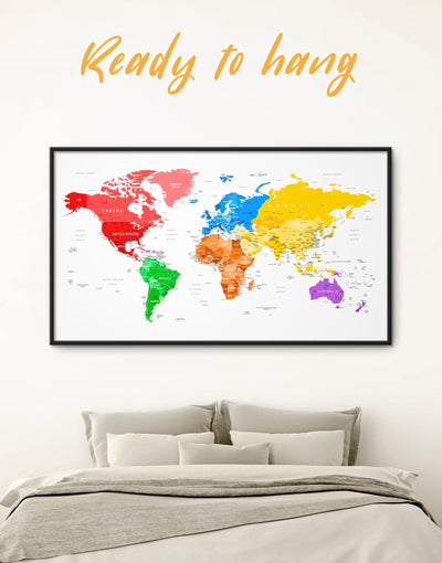 Framed World Pushpin Map Wall Art Canvas - bedroom blue contemporary wall art corkboard framed