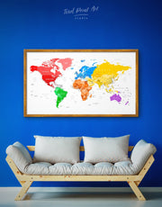 Framed World Pushpin Map Wall Art Canvas