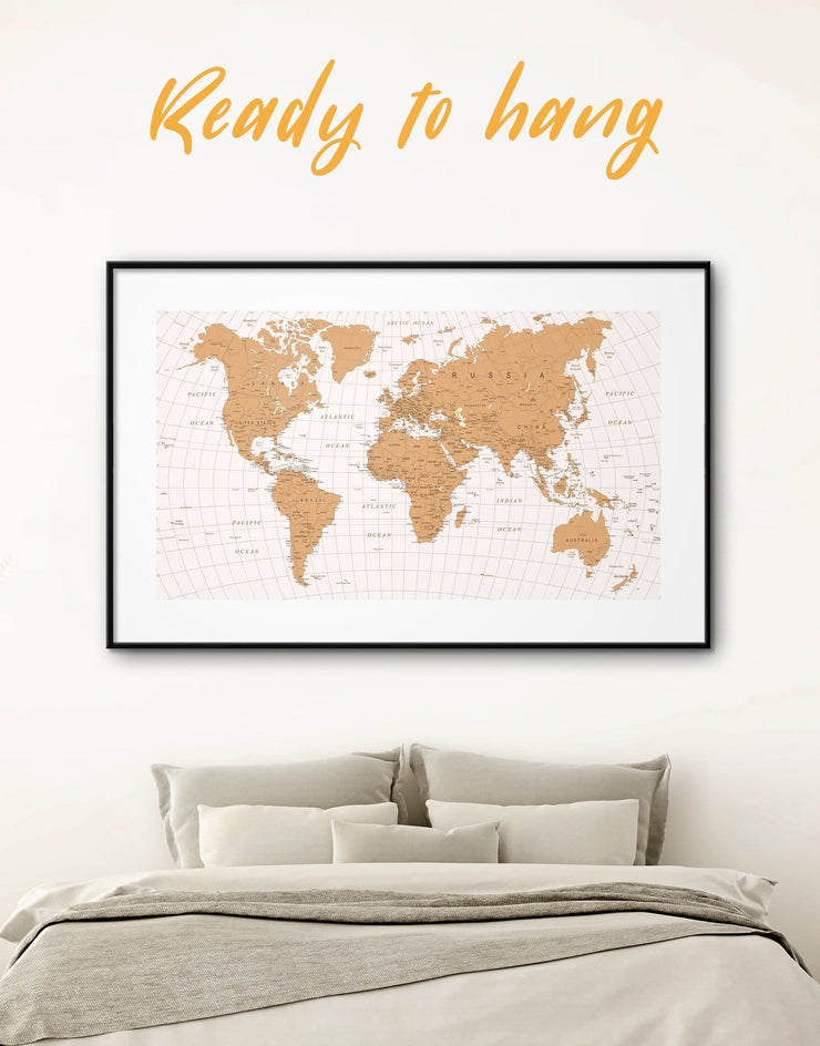 Framed World Travel Map Wall Art Print - bedroom contemporary wall art framed framed map wall art framed print