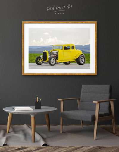 Framed Yellow Hot Rod Wall Art Print - bachelor pad car framed print garage wall art Hallway