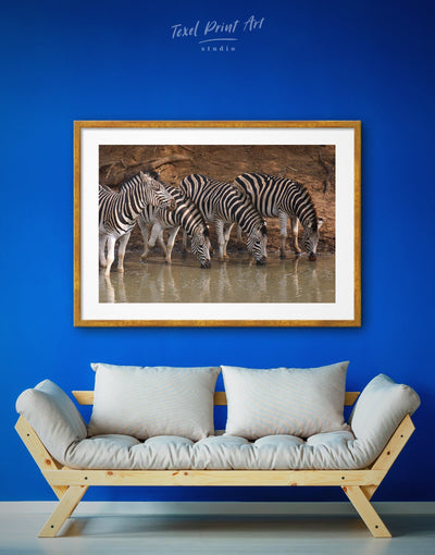 Framed Zebra Wall Art Print - Animal Animals bedroom framed print Living Room