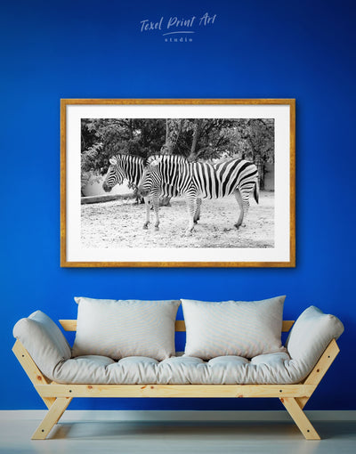 Framed Zebra Wall Art Print - Animal Animals black and white wall art framed print Living Room