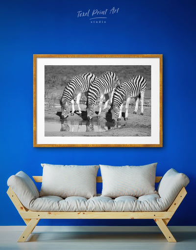 Framed Zebra Wall Art Print - Animals black and white wall art framed print Living Room Nature